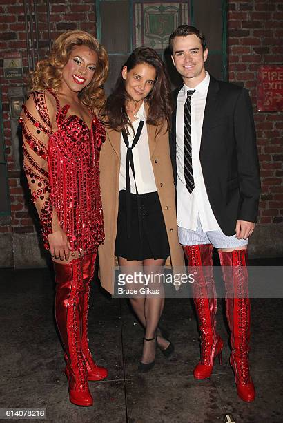 Alan Mingo Jr as 'Lola' Katie Holmes and Aaron C Finley pose backstage at the hit musical 'Kinky Boots' on Broadway at The Al Hirshfeld Theater on...
