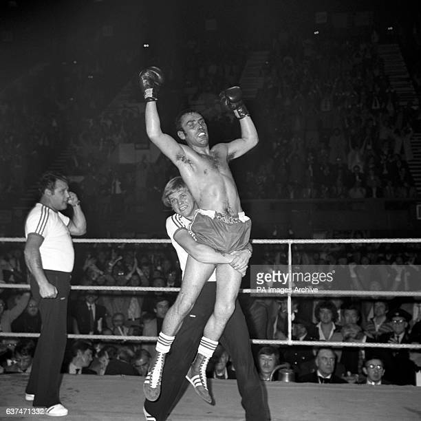 Alan Minter celebrating after retaining his European Middleweight title after beating Frenchman Gratien Tonna