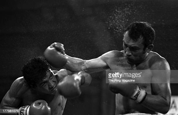 Alan Minter lands a punch against Mustafa Hamsho during the fight at Caesars Palace in Las Vegas Nevada Mustafa Hamsho Won by a SD 10