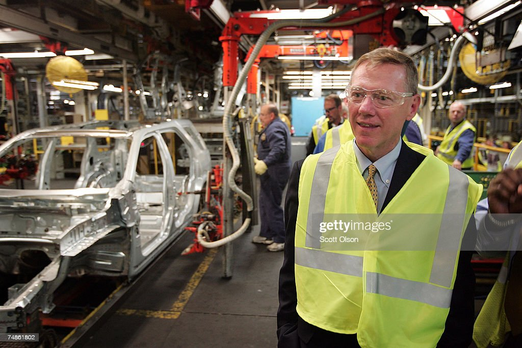 Alan Mulally, President and CEO of Ford Motor Company, tours the assembly line following a ceremony celebrating the launch of the new Ford Taurus at the Torrence Avenue Ford Assembly Plant June 22, 2007 in Chicago, Illinois. Ford builds the new Taurus, Taurus X crossover vehicle and the Mercury Sable at the plant. Nearly 3,000 people are currently employed at the facility which was first opened in 1924 to build the Model T.