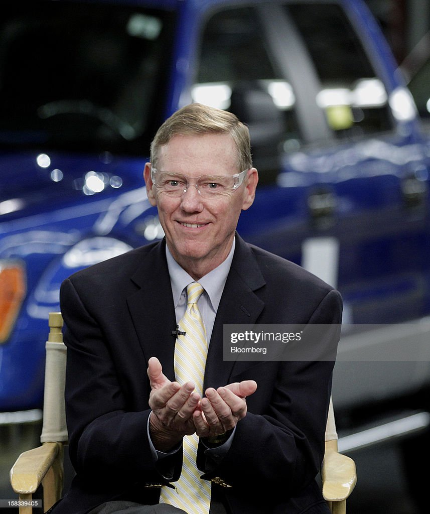 <a gi-track='captionPersonalityLinkClicked' href=/galleries/search?phrase=Alan+Mulally+-+Businessman&family=editorial&specificpeople=226958 ng-click='$event.stopPropagation()'>Alan Mulally</a>, president and chief executive officer of Ford Motor Co., speaks during an interview at the company's Dearborn Truck Plant in Dearborn, Michigan, U.S., on Thursday, Dec. 13, 2012. Ford's Dearborn Truck Plant, a flagship of the next generation of lean and flexible facilities, is capable of building up to nine different models for three vehicle platforms, while maintaining an environmentally friendly manufacturing processes. Photographer: Jeff Kowalsky/Bloomberg via Getty Images