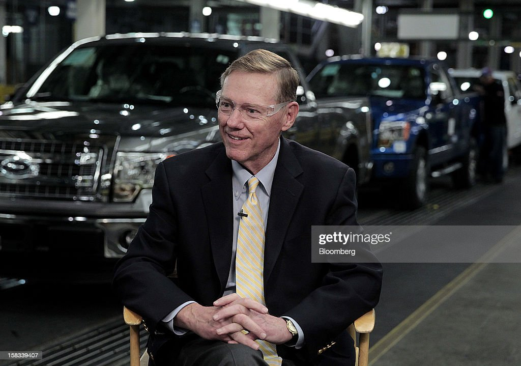 <a gi-track='captionPersonalityLinkClicked' href=/galleries/search?phrase=Alan+Mulally+-+Businessman&family=editorial&specificpeople=226958 ng-click='$event.stopPropagation()'>Alan Mulally</a>, president and chief executive officer of Ford Motor Co., smiles during an interview at the company's Dearborn Truck Plant in Dearborn, Michigan, U.S., on Thursday, Dec. 13, 2012. Ford's Dearborn Truck Plant, a flagship of the next generation of lean and flexible facilities, is capable of building up to nine different models for three vehicle platforms, while maintaining an environmentally friendly manufacturing processes. Photographer: Jeff Kowalsky/Bloomberg via Getty Images