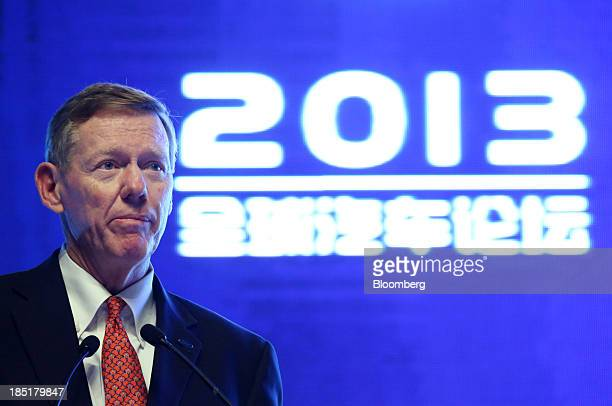 Alan Mulally president and chief executive officer of Ford Motor Co speaks during a session at the Global Automotive Forum in Wuhan China on Friday...