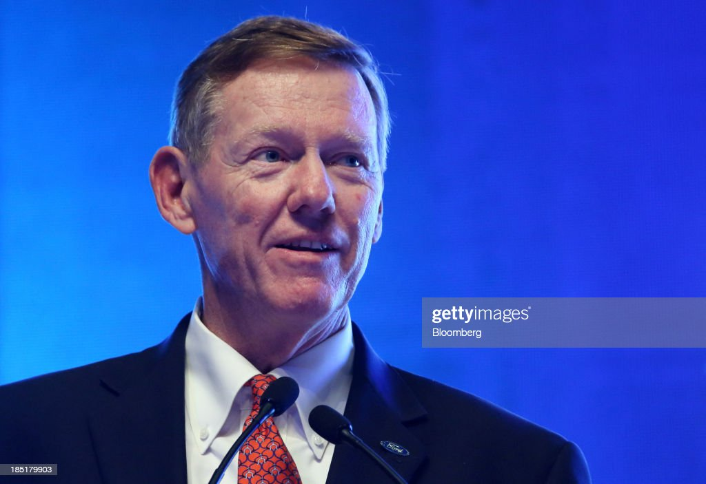 Alan Mulally, president and chief executive officer of Ford Motor Co., speaks during a session at the Global Automotive Forum in Wuhan, China, on Friday, Oct. 18, 2013. Mulally today said his plans to stay at Ford through 2014 has not changed. Photographer: Tomohiro Ohsumi/Bloomberg via Getty Images