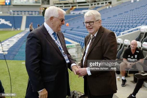 Alan Mullery with BBC Football Commentator John Motson prior to the Premier League match between Brighton and Hove Albion and West Bromwich Albion at...