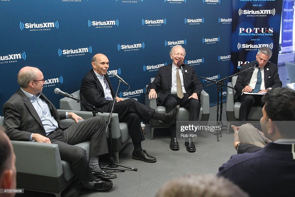 Alan Murray Editor of Fortune Magazine, John Avlon, Editor-in-Chief of The Daily Beast, Joe Lieberman and John Huntman attend a special edition of SiriusXM's No Labels Radio, airing on SiriusXM POTUS at SiriusXM Studios on May 5, 2015 in New York City.