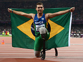Alan Fonteles Cardoso Oliveira of Brazil wins gold in the Men's 200m T44 Final on day 4 of the London 2012 Paralympic Games at Olympic Stadium on...