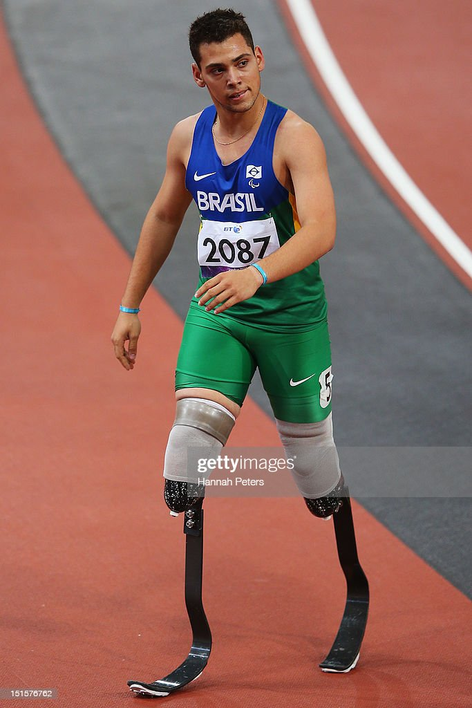 Alan Fonteles Cardoso Oliveira walks off after competing in the Men's 400m ¿ T44 final on day 10 of the London 2012 Paralympic Games at Olympic Stadium on September 8, 2012 in London, England.