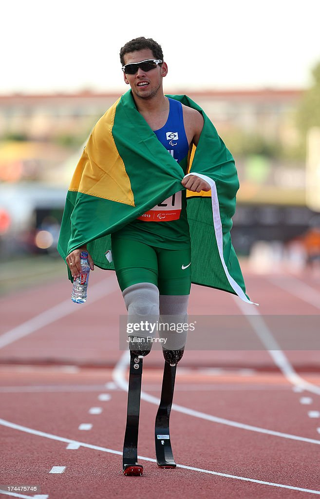 Alan Fonteles Oliveira of Brazil after his win in the Men's 400m T44 final during day seven of the IPC Athletics World Championships on July 26, 2013 in Lyon, France.