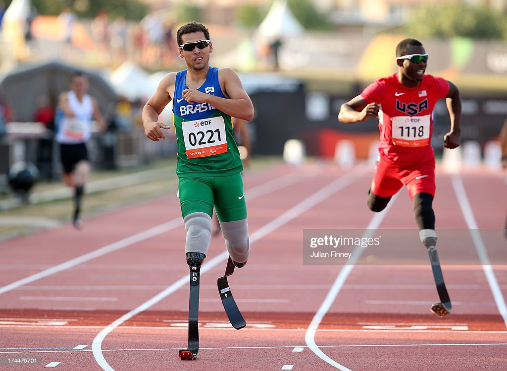 Alan Fonteles Oliveira of Brazil wins the Men's 400m T44 final during day seven of the IPC Athletics World Championships on July 26, 2013 in Lyon, France.