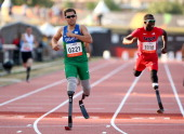 Alan Fonteles Oliveira of Brazil wins the Men's 400m T44 final during day seven of the IPC Athletics World Championships on July 26 2013 in Lyon...