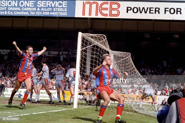 Alan Pardew celebrates scoring Crystal Palace's winning goal in extra time during the FA Cup SemiFinal against holders Liverpool at Villa Park...