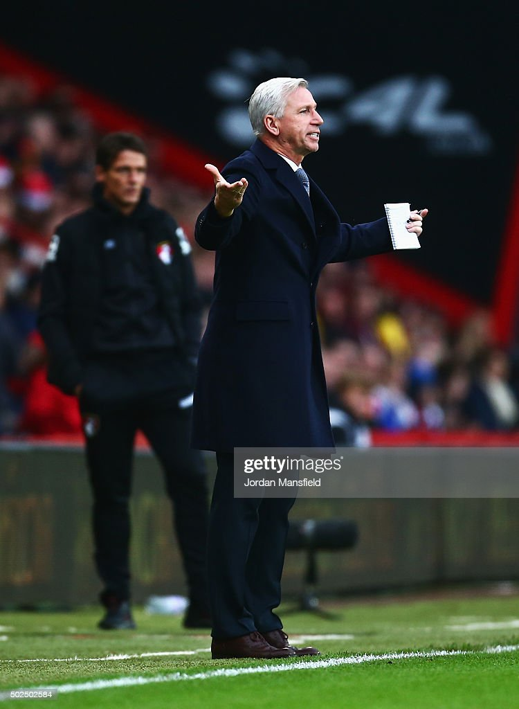 Alan Pardew, manager of Crystal Palace reacts during the Barclays Premier League match between A.F.C. Bournemouth and Crystal Palace at Vitality Stadium on December 26, 2015 in Bournemouth, England.