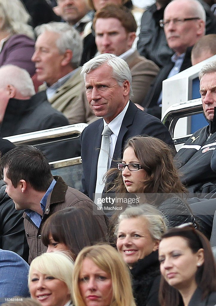 Alan Pardew, manager of Newcastle United takes his seat in the stand during the Barclays Premier League match between Newcastle United and Norwich City on September 23, 2012 in Newcastle, England.
