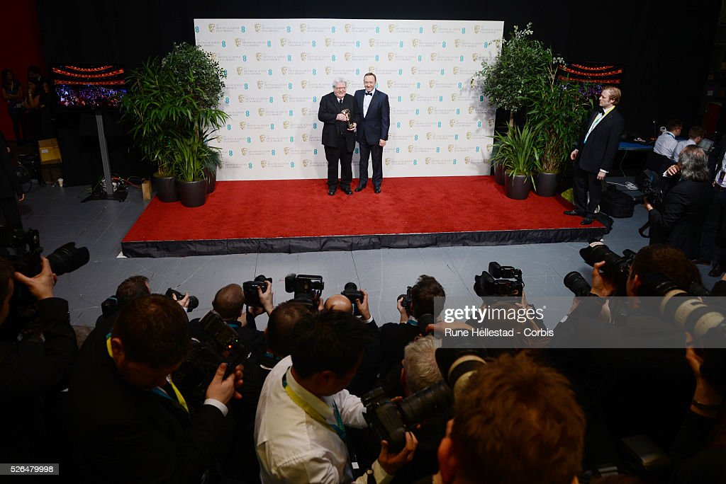 Alan Parker and Kevin Spacey attend the EE British Academy Film Awards at the Royal Opera House