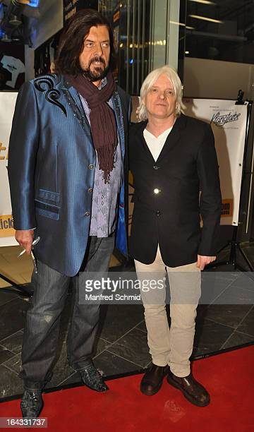 Alan Parsons and Nick Taylor pose for a photograph during a honoring ceremony for Alan Parsons at the 'Walk Of Stars' at Gasometer Music City Vienna...