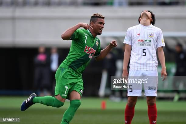 Alan Pinheiro of Tokyo Verdy celebrates scoring his team's first goal during the JLeague J2 match between Tokyo Verdy and FC Gifu at Ajinomoto...