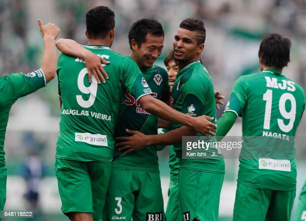 Alan Pinheiro of Tokyo Verdy celebrates scoring the opening goal with his team mates during the JLeague J2 match between Tokyo Verdy and Oita Trinita...