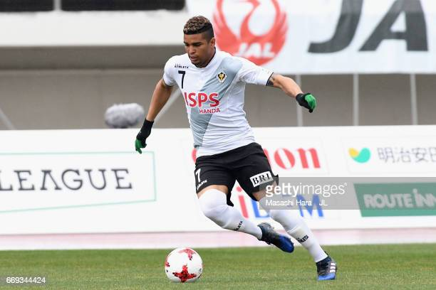 Alan Pinheiro of Tokyo Verdy in action during the JLeague J2 match between Montedio Yamagata and Tokyo Verdy at ND Soft Stadium Yamagata on April 15...