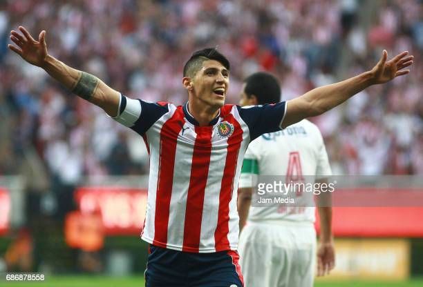 Alan Pulido of Chivas celebrates after the semi final second leg match between Chivas and Toluca as part of the Torneo Clausura 2017 Liga MX at...