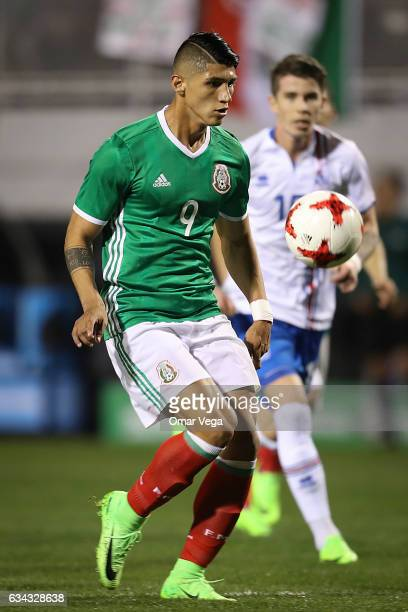 Alan Pulido of Mexico tries to control the ball during an International Friendly match between Mexico and Iceland at Sam Boyd Stadium on February 08...