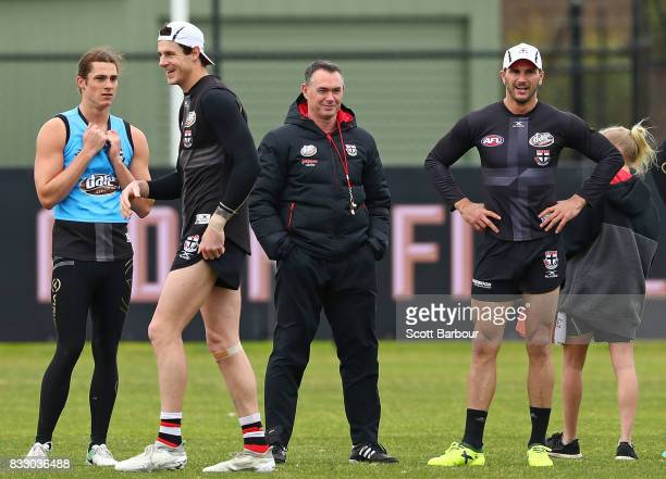 Alan Richardson coach of the Saints looks on during a St Kilda Saints AFL training session at Linen House Oval on August 17 2017 in Melbourne...