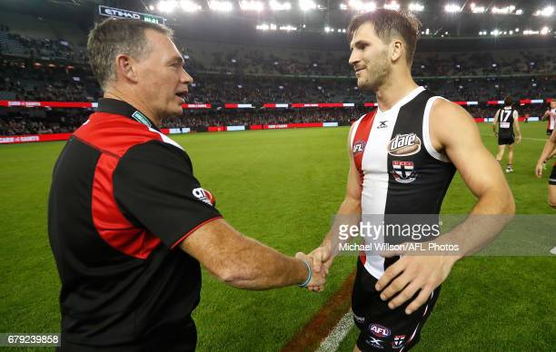 Alan Richardson Senior Coach of the Saints congratulates Koby Stevens of the Saints during the 2017 AFL round 07 match between the St Kilda Saints...