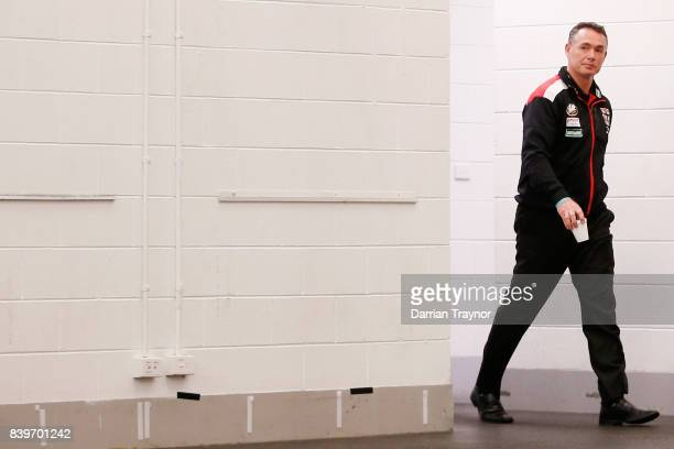 Alan Richardson Senior Coach of the Saints is seen in the rooms before the round 23 AFL match between the Richmond Tigers and the St Kilda Saints at...