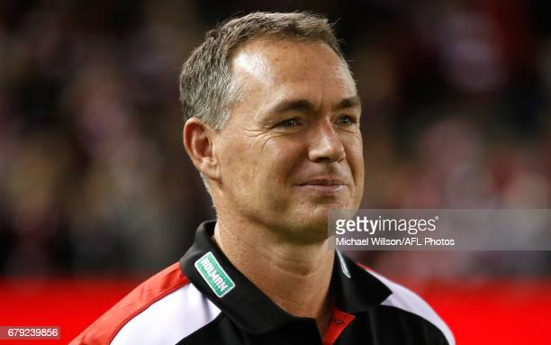 Alan Richardson Senior Coach of the Saints looks on during the 2017 AFL round 07 match between the St Kilda Saints and the GWS Giants at Etihad...