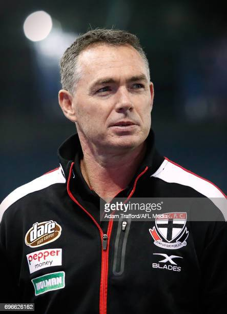 Alan Richardson Senior Coach of the Saints looks on during the 2017 AFL round 13 match between the North Melbourne Kangaroos and the St Kilda Saints...