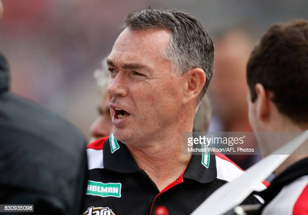 Alan Richardson Senior Coach of the Saints looks on during the 2017 AFL round 21 match between the Melbourne Demons and the St Kilda Saints at the...