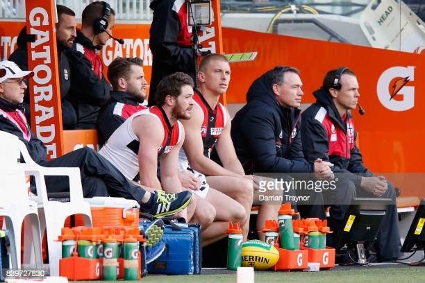 Alan Richardson Senior Coach of the Saints looks on from the bench during the round 23 AFL match between the Richmond Tigers and the St Kilda Saints...
