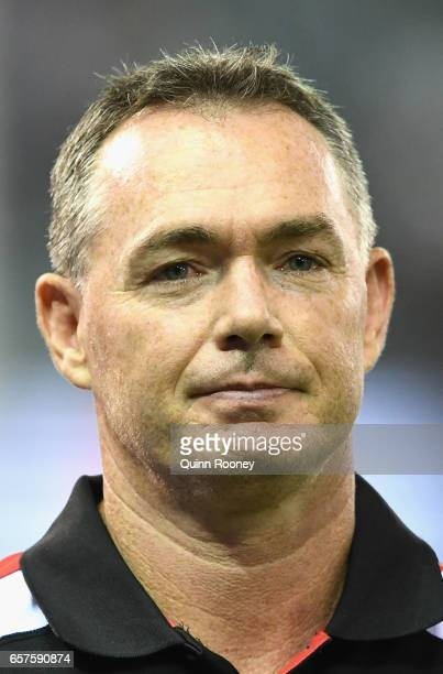 Alan Richardson the coach of the Saints looks on during the round one AFL match between the St Kilda Saints and the Melbourne Demons at Etihad...