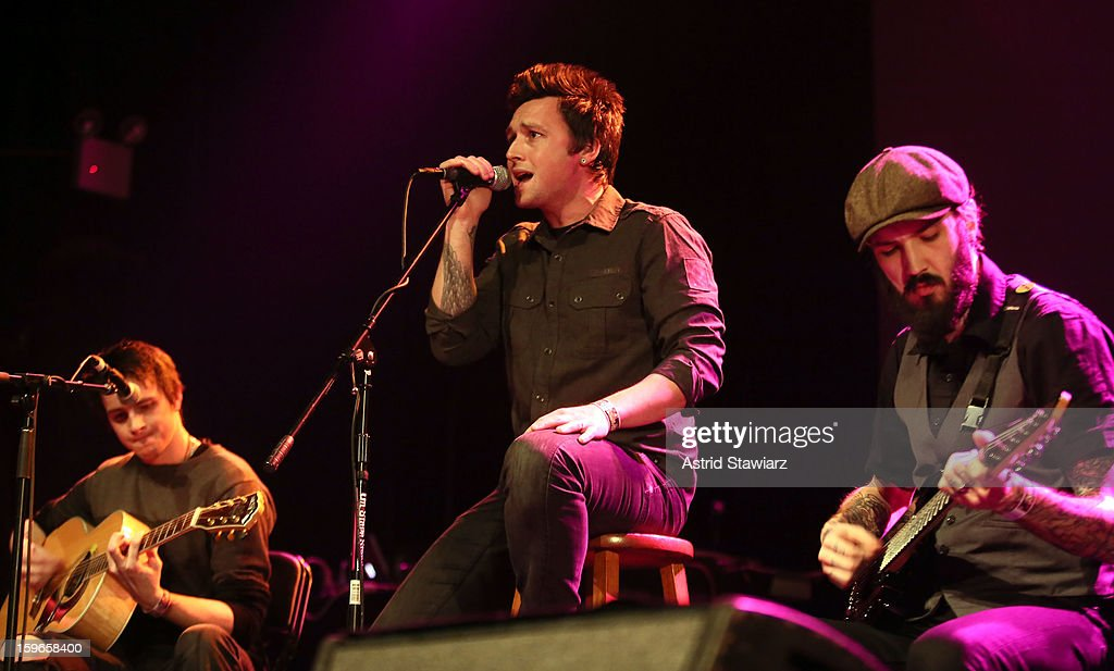 Alan Riches, Adam Haggarty and Tom Gardner of Beyond The Curtain perform during the Rock For Recovery, A Benefit For Victims Of Hurricane Sandy at the Gramercy Theatre on January 17, 2013 in New York City.