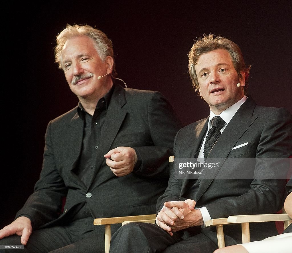 Alan Rickman and Colin Firth attend Meet The Film Makers: Gambit at the Apple Store, Regent Street on November 7, 2012 in London, England.