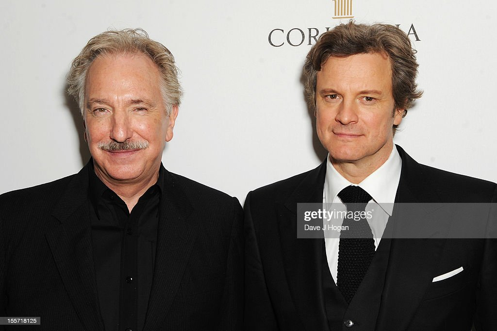 Alan Rickman and Colin Firth attend the world film premiere after party for Gambit at The Corinthia Hotel on November 7 2012 in London England