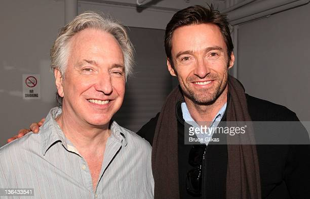 Alan Rickman and Hugh Jackman pose backstage at 'Seminar' on Broadway at The Golden Theater on January 4 2012 in New York City