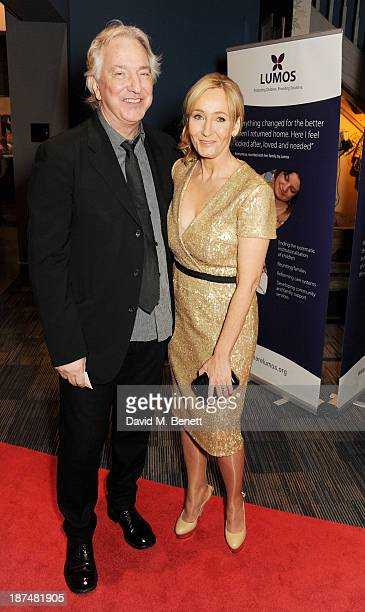 Alan Rickman and JK Rowling attend the Lumos fundraising event hosted by JK Rowling at The Warner Bros Harry Potter Tour on November 9 2013 in London...
