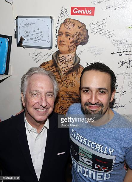Alan Rickman and LinManuel Miranda pose backstage at the hit musical 'Hamilton' on Broadway at The Richard Rogers Theater on November 19 2015 in New...