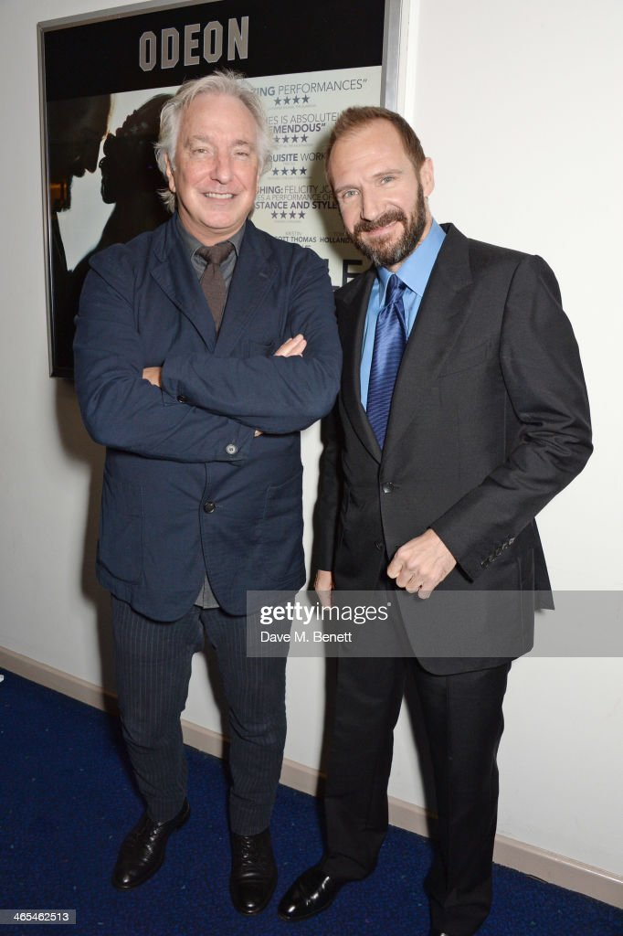 Alan Rickman (L) and Ralph Fiennes attend the UK Premiere of 'The Invisible Woman' at the ODEON Kensington on January 27, 2014 in London, England.