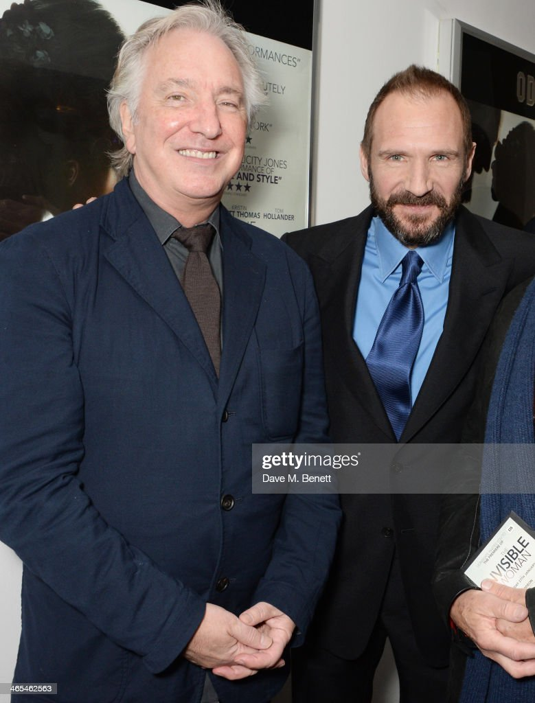 <a gi-track='captionPersonalityLinkClicked' href=/galleries/search?phrase=Alan+Rickman&family=editorial&specificpeople=213254 ng-click='$event.stopPropagation()'>Alan Rickman</a> (L) and <a gi-track='captionPersonalityLinkClicked' href=/galleries/search?phrase=Ralph+Fiennes&family=editorial&specificpeople=206461 ng-click='$event.stopPropagation()'>Ralph Fiennes</a> attend the UK Premiere of 'The Invisible Woman' at the ODEON Kensington on January 27, 2014 in London, England.