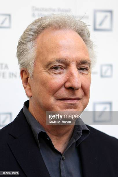 Alan Rickman attends the reception for 'A Life In Pictures' with Alan Rickman at Princess Anne Theatre BAFTA on April 15 2015 in London England