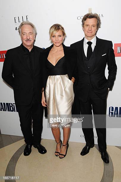 Alan Rickman Cameron Diaz and Colin Firth attend the world film premiere after party for Gambit at The Corinthia Hotel on November 7 2012 in London...
