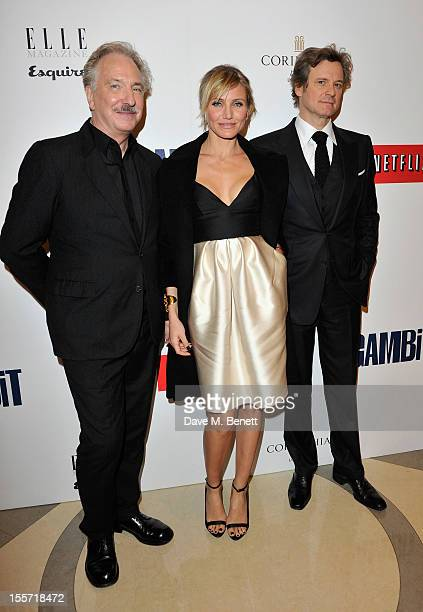 Alan Rickman Cameron Diaz and Colin Firth attends an after party following the World Premiere of 'Gambit' at Massimo Restaurant Oyster Bar in the...