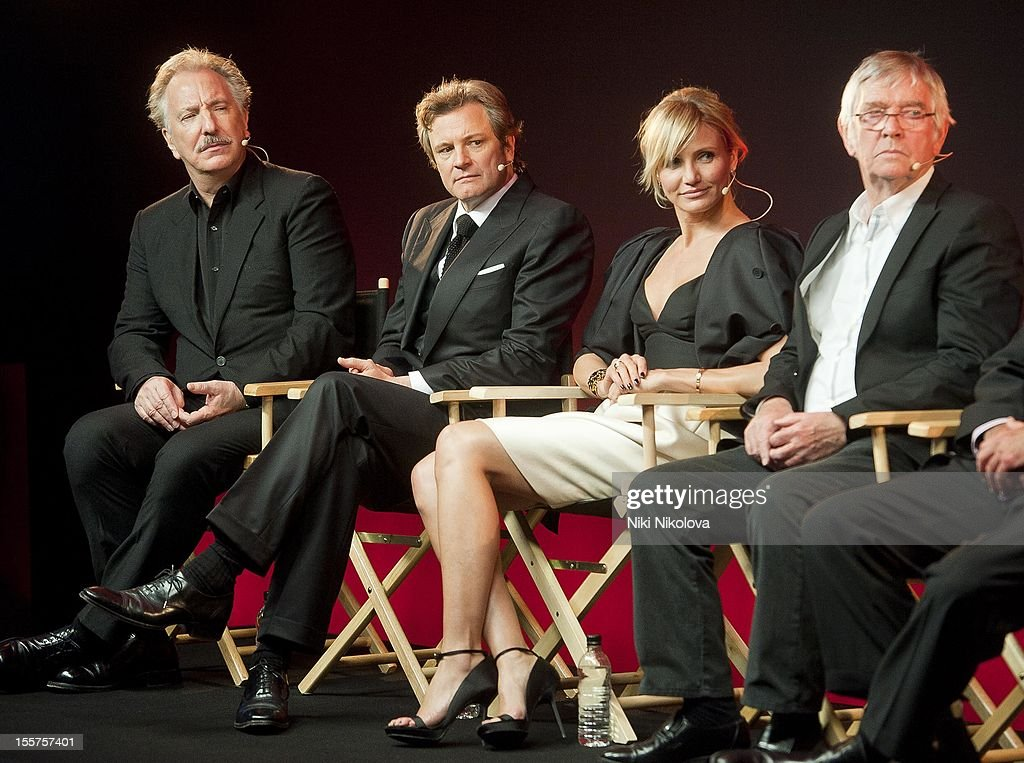Alan Rickman, Colin Firth, Cameron Diaz and Tom Courtenay attend Meet The Film Makers: Gambit at the Apple Store, Regent Street on November 7, 2012 in London, England.