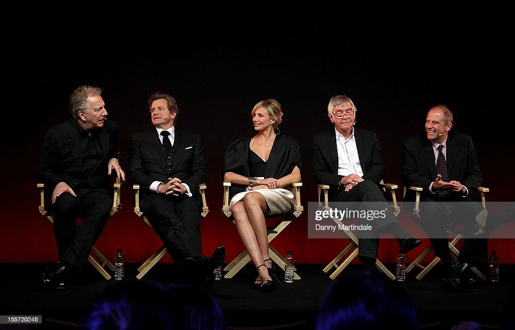 Alan Rickman, Colin Firth, Cameron Diaz, Sir Tom Courtenay and director Michael Hoffman attend the Meet The Filmmakers event for Gambit at Apple Store, Regent Street on November 7, 2012 in London, England.