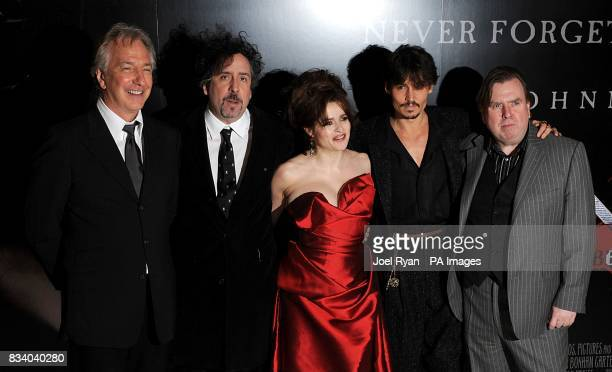 Alan Rickman Tim Burton Helena Bonham Carter Johnny Depp and Timothy Spall at the premiere of Sweeney Todd The Demon Barber of Fleet Street at the...