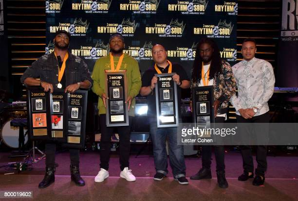 Alan Ritter Boi1da Supa Dups Di Genius and Rotimi pose with awards at the ASCAP 2017 Rhythm Soul Music Awards at the Beverly Wilshire Four Seasons...
