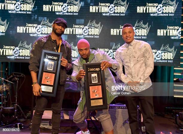 Alan Ritter Malik Yusef and Rotimi pose with awards at the ASCAP 2017 Rhythm Soul Music Awards at the Beverly Wilshire Four Seasons Hotel on June 22...