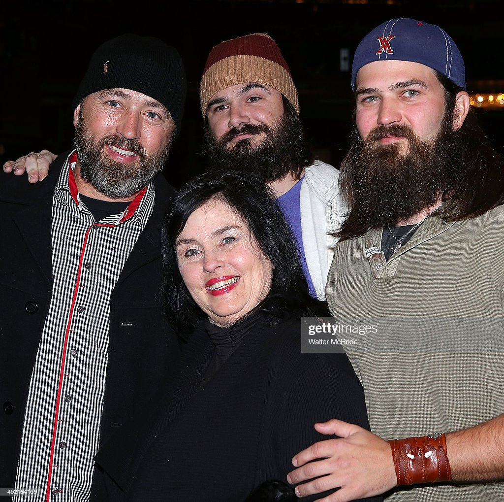 Alan Robertson, Vince Mancuso, Kay Robertson, and Jep Robertson from 'Duck Dynasty' backstage at 'Cinderella' On Broadway at the Broadway Theatre on November 26, 2013 in New York City.